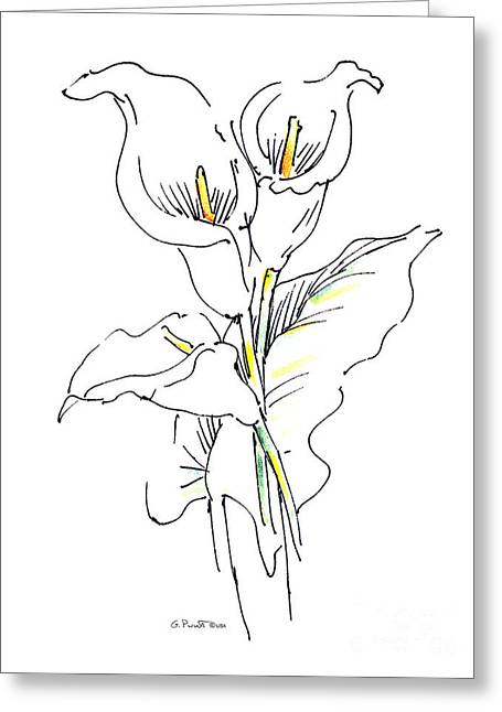 Lily Watercolor Drawing 1 Greeting Card by Gordon Punt