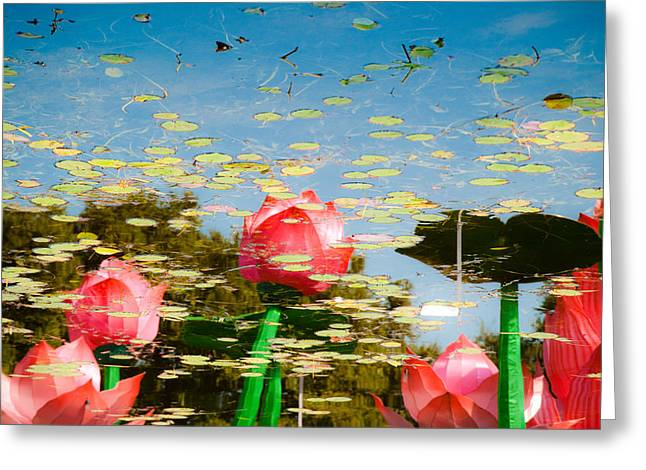 Lilys In The Sky Greeting Card by Sonja Quintero