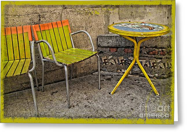 Lime Chairs Greeting Card by Joan  Minchak