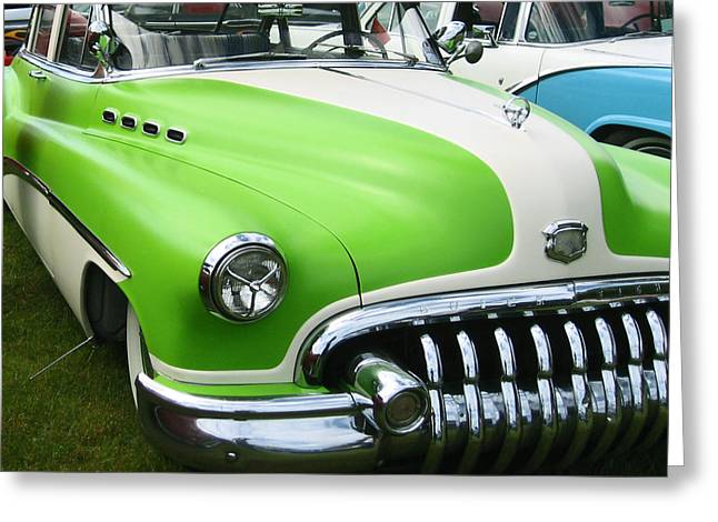 Greeting Card featuring the photograph Lime Green 1950s Buick by Kym Backland