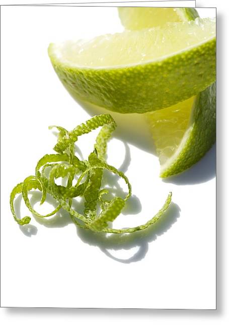 Lime Slices And Peel Greeting Card by Jon Stokes
