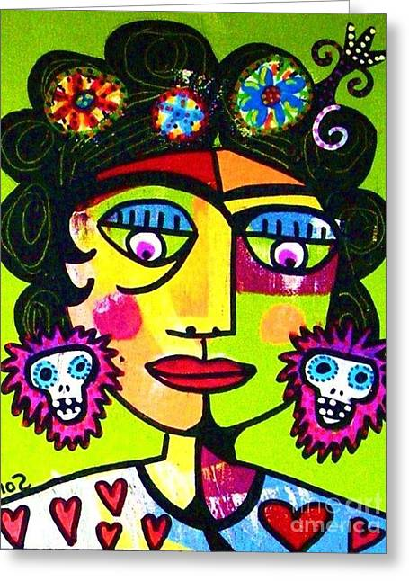 Lime Sugar Skull Frida Greeting Card by Sandra Silberzweig