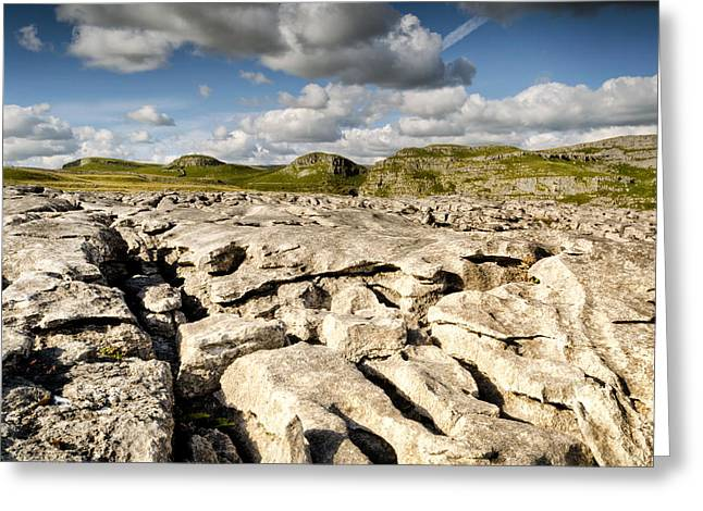 Limestone Pavements At Malham Greeting Card by Chris Frost