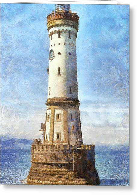 Lindau Lighthouse In Germany Greeting Card