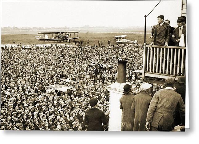 Lindbergh's Hero's Welcome, Croydon, 1927 Greeting Card by Detlev Van Ravenswaay