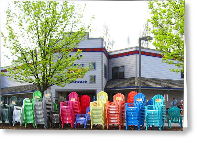 Line Of Rainbow Chairs Greeting Card by Kym Backland