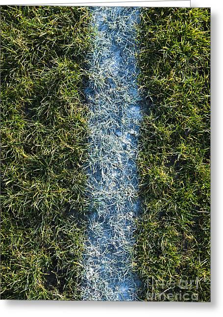 Line On Artificial Turf Greeting Card by Paul Edmondson