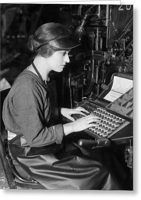 Linotype Operator, C1920s Greeting Card