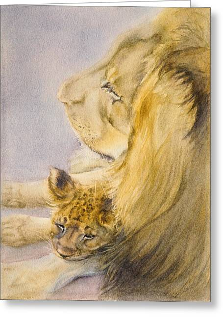 Greeting Card featuring the painting Lion And Cub by Bonnie Rinier