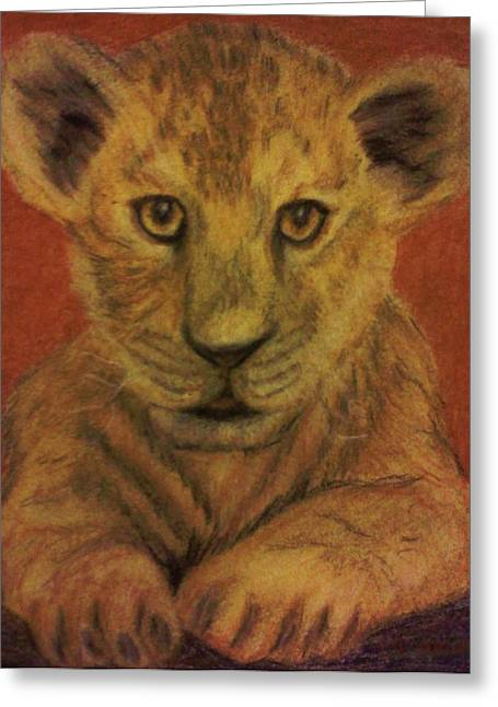 Greeting Card featuring the pastel Lion Cub by Christy Saunders Church