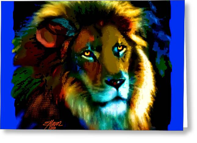 Greeting Card featuring the painting Lion Icon by Elinor Mavor