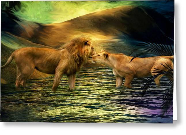 Lion Lovers Greeting Card by Carol Cavalaris