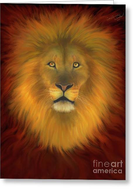 Lion Of Judah Firey Eyes Greeting Card by Constance Woods