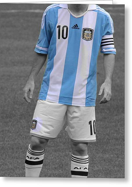 Lionel Messi Greeting Card by Lee Dos Santos