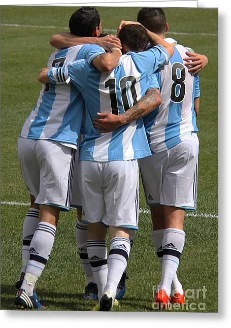 Lionel Messi Teamwork Greeting Card by Lee Dos Santos