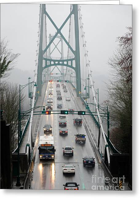 Lions Mist Lions Gate Bridge From Stanley Park Vancouver Bc Greeting Card by Andy Smy