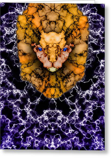 Lion's Roar Greeting Card by Christopher Gaston
