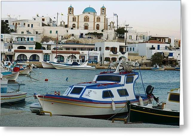 Greeting Card featuring the photograph Lipsi Harbour by Therese Alcorn