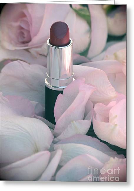 Lipstick And Roses Greeting Card by Sophie Vigneault