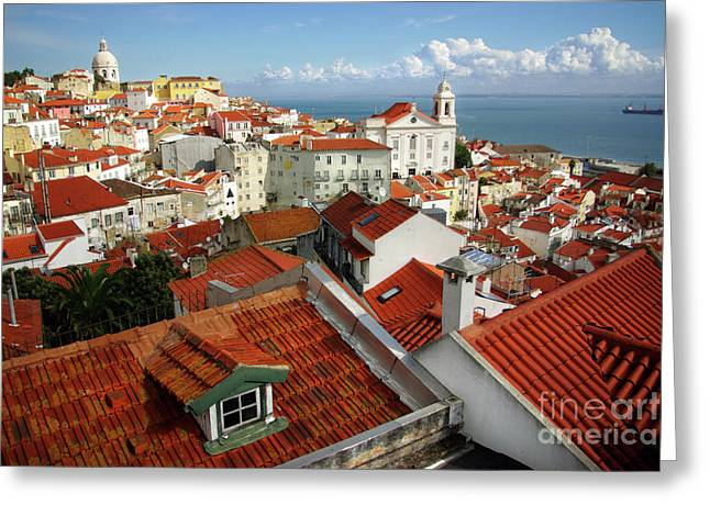 Lisbon Rooftops Greeting Card by Carlos Caetano