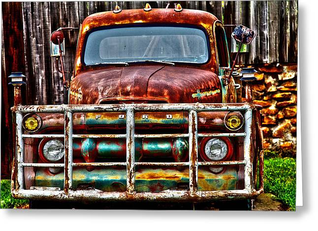 Lit Up Ford Greeting Card by Toni Hopper
