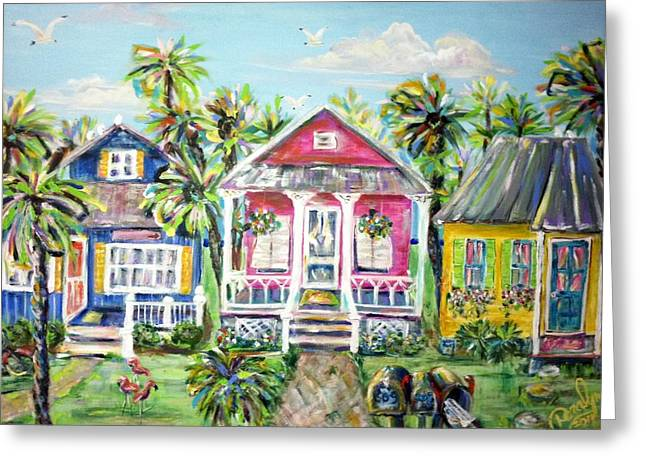 Little Beach Houses Greeting Card by Doralynn Lowe