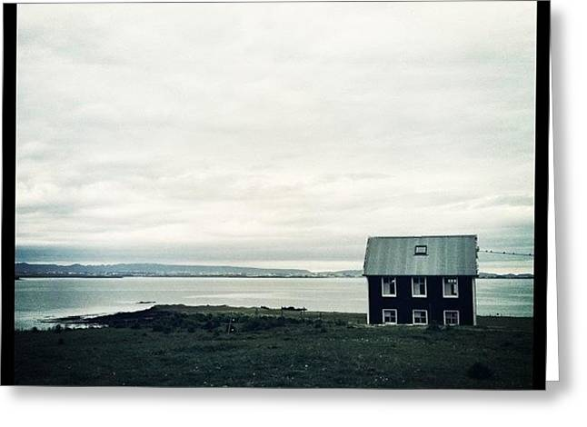 Little Black House By The Sea Greeting Card