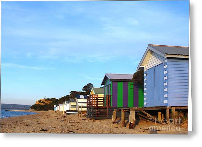 Little Boatsheds In A Row Greeting Card by Therese Alcorn