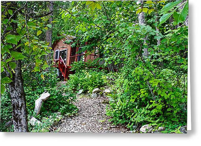 Little Cabin In The Woods Greeting Card by Infinitimage Canada