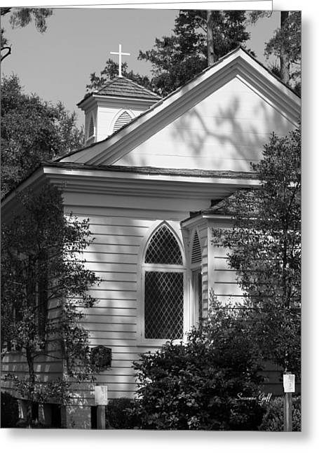Little Chapel In The Woods In Black And White Greeting Card by Suzanne Gaff