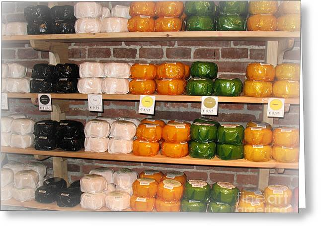 Little Cheeses On A Shelf In Amsterdam Greeting Card by Trude Janssen