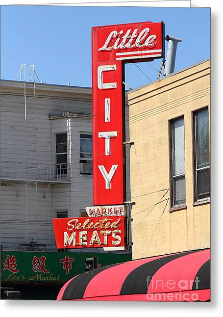 Little City Meat Market In North Beach San Francisco Greeting Card by Wingsdomain Art and Photography