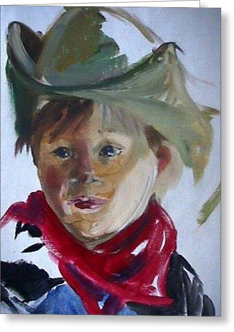 Greeting Card featuring the painting Little Cowboy by Jan Swaren