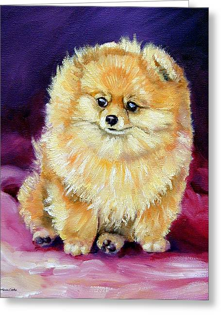 Little Dude - Pomeranian Greeting Card by Lyn Cook