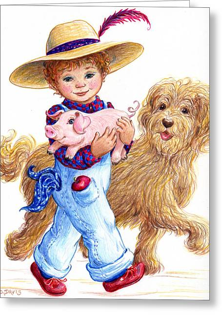 Little Farm Boy Greeting Card by Dee Davis