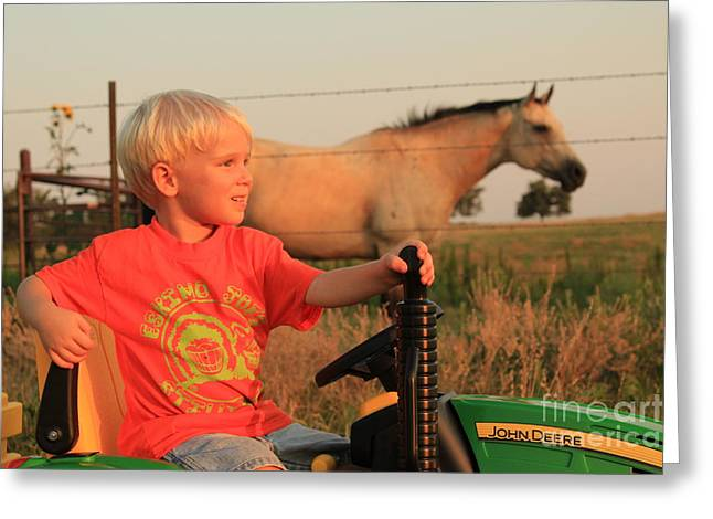 Little Farmer Greeting Card by Anthony Johnson