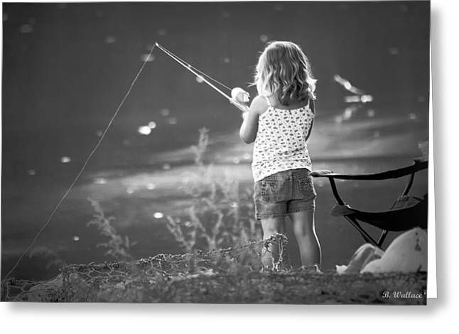 Little Fishing Girl Greeting Card