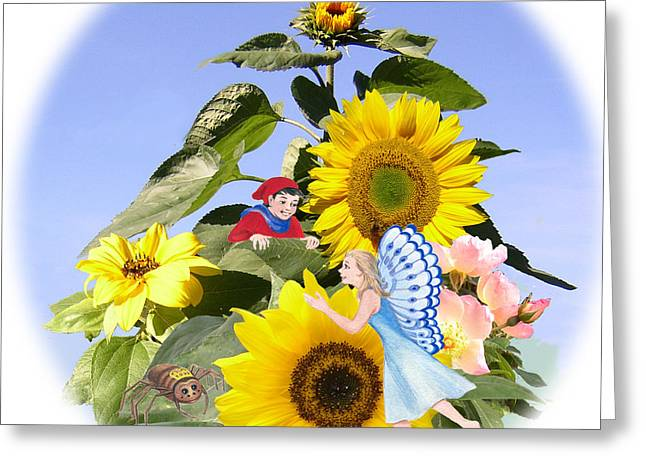 Little Folk Among The Sunflowers Greeting Card by Maureen Carter