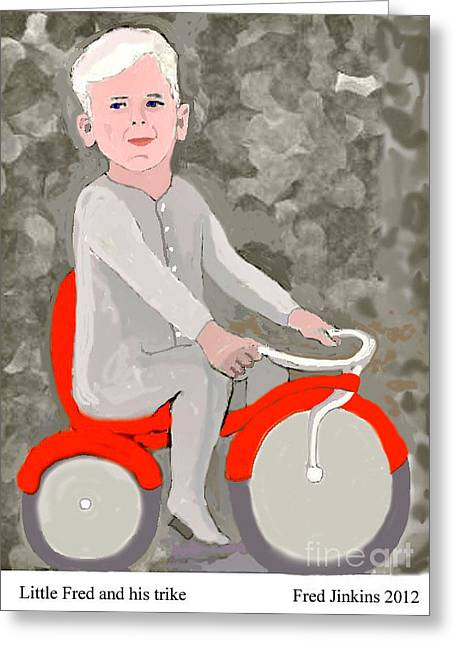 Little Fred And His Trike. Greeting Card by Fred Jinkins