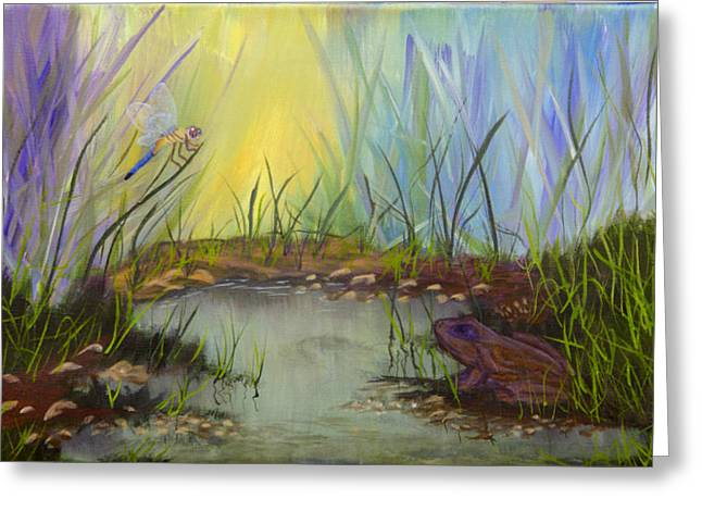 Greeting Card featuring the painting Little Frog Pond by J Cheyenne Howell