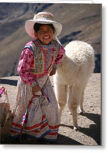 Little Girl And Baby Alpaca Greeting Card by RicardMN Photography