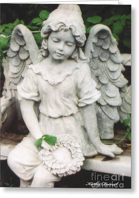 Little Girl Garden Angel Holding Wreath  Greeting Card by Kathy Fornal