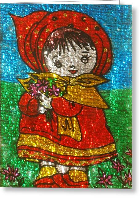 Little  Girl - Glass Painting Greeting Card by Rejeena Niaz
