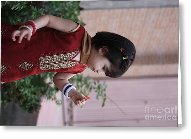 Little Girl With Flower Greeting Card by Muhammad Junaid Rashid