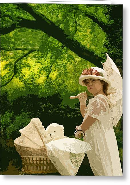 Little Girl Yesteryear Greeting Card by Trudy Wilkerson