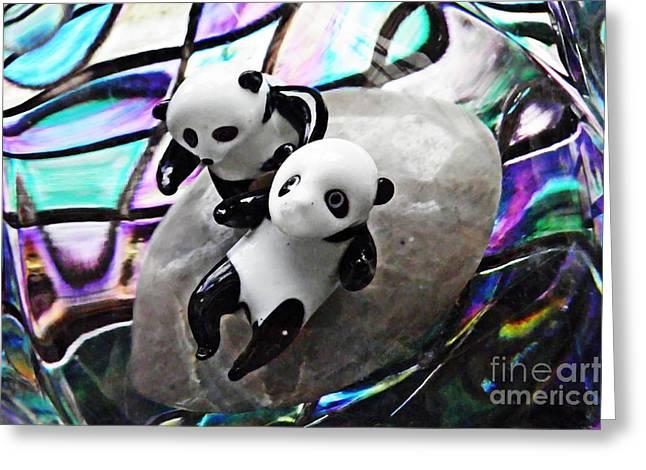 Little Glass Pandas 16 Greeting Card by Sarah Loft