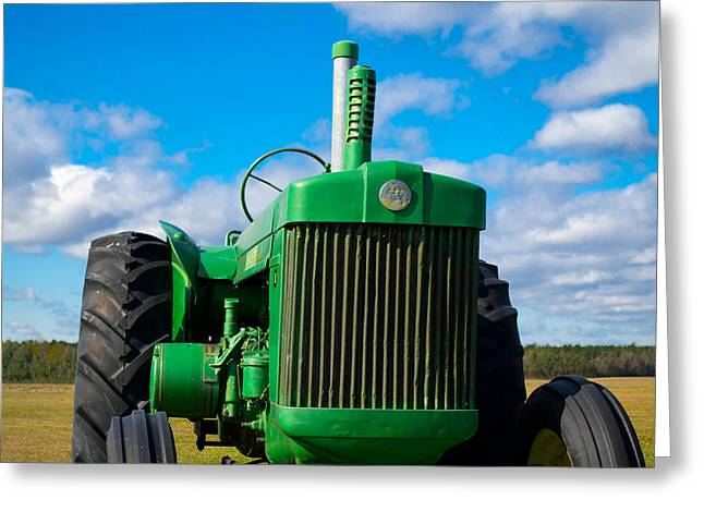 Little Green Tractor Greeting Card