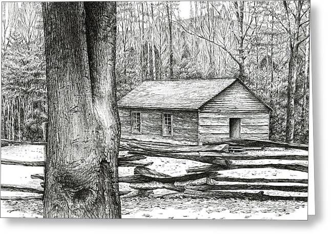 Greeting Card featuring the drawing Little Greenbrier School House by Bob  George