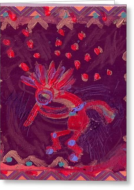 Little Kokopelli With Sash Greeting Card by Anne-Elizabeth Whiteway