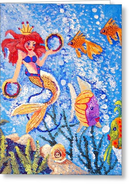 Little Mermaid In The Sea Greeting Card by Janna Columbus